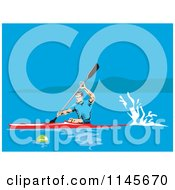 Clipart Of A Kayaker Paddling On A Lake Royalty Free Vector Illustration