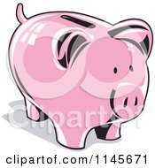 Clipart Of A Retro Pink Piggy Coin Bank Royalty Free Vector Illustration by patrimonio