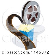 Clipart Of A Movie Reel And Popcorn Royalty Free Vector Illustration