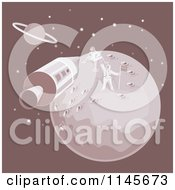 Clipart Of The Moon Landing With An Astronaut And Module Royalty Free Vector Illustration