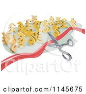 Clipart Of A Pair Of Scissors Cutting A Ribbon Towards Euro And Dollar Symbols Royalty Free Vector Illustration by patrimonio