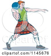 Clipart Of A Retro Scottish Shot Put Man Royalty Free Vector Illustration by patrimonio