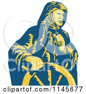 Clipart Of A Retro Sea Captain Holding Binoculars At The Helm Royalty Free Vector Illustration by patrimonio