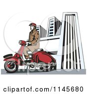 Clipart Of A Retro Man Riding A Vespa In A City Royalty Free Vector Illustration by patrimonio