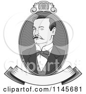 Clipart Of A Victorian Grayscale Gentleman Portrait With A Banner Royalty Free Vector Illustration