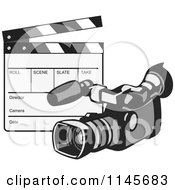 Clipart Of A Retro Video Camera And Clapper Board Royalty Free Vector Illustration