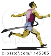 Clipart Of A Retro Runner Sprinting Through The Finish Line Royalty Free Vector Illustration by patrimonio