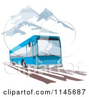 Clipart Of A Retro Blue Tourist Bus In Mountains Royalty Free Vector Illustration