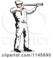 Clipart Of A Retro Sailor Viewing Through A Telescope Royalty Free Vector Illustration by patrimonio