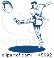 Clipart Of A Retro Blue Rugby Player Kicking Royalty Free Vector Illustration