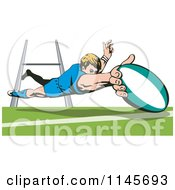 Clipart Of A Rugby Player Diving 1 Royalty Free Vector Illustration