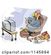 Clipart Of A Turkey Eating Junk Food And Watching Tv Royalty Free Vector Illustration