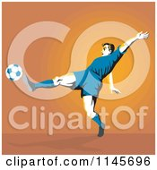 Clipart Of A Soccer Player Kicking Over Orange Royalty Free Vector Illustration by patrimonio