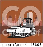 Clipart Of A Retro Road Roller Tractor In A Brown City Royalty Free Vector Illustration by patrimonio