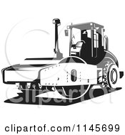 Clipart Of A Retro Black And White Road Roller Tractor Royalty Free Vector Illustration by patrimonio