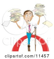 Stressed Businessman Carrying Stacks Of Papers While Walking On A Tightrope