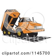 Clipart Of A Retro Orange Dump Truck Royalty Free Vector Illustration by patrimonio