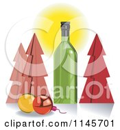 Clipart Of A Green Wine Bottle With Christmas Trees And Baubles Royalty Free Vector Illustration by patrimonio