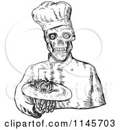 Sketched Black And White Skeleton Chef Serving Bones