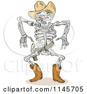 Sketched Skeleton Cowboy Ready To Draw