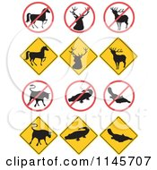 Clipart Of Wildlife Road Signs Royalty Free Vector Illustration by patrimonio