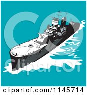 Clipart Of A Retro Battleship 1 Royalty Free Vector Illustration by patrimonio