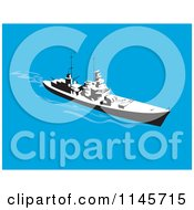 Clipart Of A Retro Battleship 2 Royalty Free Vector Illustration by patrimonio