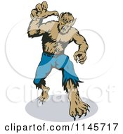 Clipart Of A Werewolf Reaching Outwards Royalty Free Vector Illustration