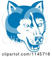 Clipart Of A Blue Wolf Head Royalty Free Vector Illustration