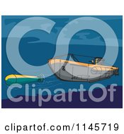 Clipart Of A Submarine Launching An Underwater Missile Royalty Free Vector Illustration