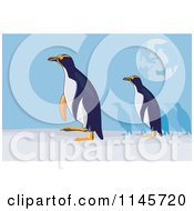 Clipart Of Yellow Eyed Penguins Under The Moon Royalty Free Vector Illustration by patrimonio