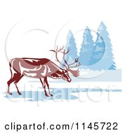 Clipart Of A Reindeer On A Frozen Lake Royalty Free Vector Illustration by patrimonio