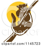 Clipart Of A Retro Possum On A Branch Against A Yellow Circle Royalty Free Vector Illustration