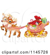 Cartoon Of Cute Christmas Reindeer Pulling A Sleigh With Toys Royalty Free Vector Clipart
