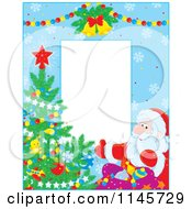 Clipart Of A Border Of Santa And A Christmas Tree Over Blue Snowflakes Royalty Free Vector Illustration