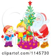 Clipart Of Santa And Children Around A Christmas Tree Royalty Free Vector Illustration