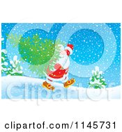 Clipart Of Santa Carrying A Tree In The Snow Royalty Free Illustration