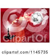 Clipart Of A Silhouetted Athlete Kicking A Soccer Ball Over Red Waves Balls And Hexagons Royalty Free Vector Illustration by AtStockIllustration