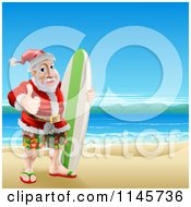 Clipart Of A Thumb Up Summer Santa With A Surf Board On A Beach Royalty Free Vector Illustration by AtStockIllustration