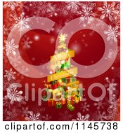 Clipart Of A Merry Christmas Banner And Tree Of Gifts On Red With Snowflakes Royalty Free Vector Illustration