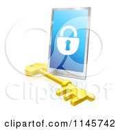Clipart Of A 3d Secure Locked Smart Phone And Skeleton Key Royalty Free Vector Illustration