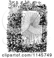 Clipart Of A Retro Vintage Black And White Spider Web In A Garden Royalty Free Vector Illustration by Prawny Vintage