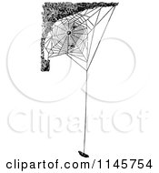 Clipart Of A Retro Vintage Black And White Spider Web With Suspended Prey Royalty Free Vector Illustration by Prawny Vintage