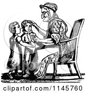 Clipart Of A Retro Vintage Black And White Granny Talking To Her Grandchildren Royalty Free Vector Illustration