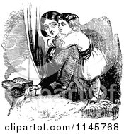Clipart Of A Retro Vintage Black And White Girl Hugging Her Mom From Behind Royalty Free Vector Illustration
