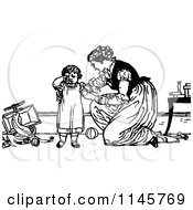 Clipart Of A Retro Vintage Black And White Mother Comforting A Fussy Child Royalty Free Vector Illustration