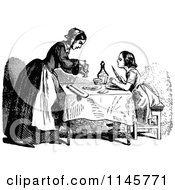 Clipart Of A Retro Vintage Black And White Mother And Daughter At A Table Royalty Free Vector Illustration by Prawny Vintage