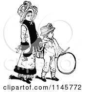 Clipart Of A Retro Vintage Black And White Mother Holding Hands With Her Son Royalty Free Vector Illustration