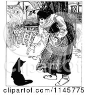 Clipart Of A Retro Vintage Black And White Old Woman And Cat Royalty Free Vector Illustration by Prawny Vintage