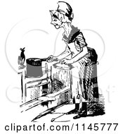 Clipart Of A Retro Vintage Black And White Old Woman Cooking Royalty Free Vector Illustration by Prawny Vintage